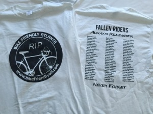 2015 Bikefriendlyatl T-Shirt! Show your support for our fallen! 100% of profits goes towards raising awareness and never forgetting our fallen!